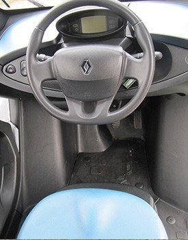 compact cabin of a renault twizy
